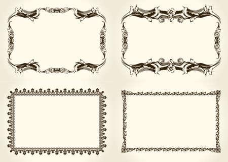 marcos decorativos: elementos de diseño caligráfico adornado y la vendimia Vectores