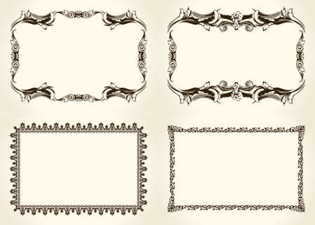 frame design: Ornate and vintage design calligraphic elements