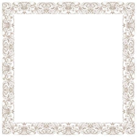 ヴィンテージの装飾的なフレームワーク。白い正方形の分離の図