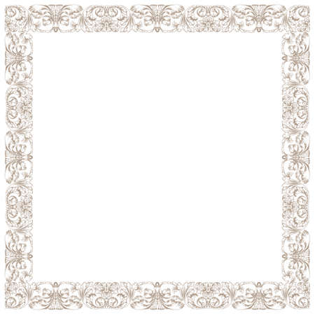 baroque border: Vintage decorative framework. Illustration isolated in white square