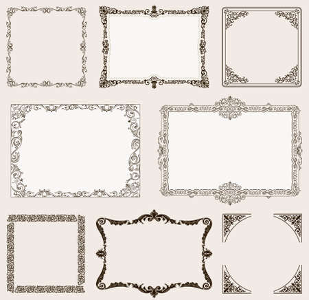 vintage document: Vector set. Ornate frames and vintage scroll elements for design