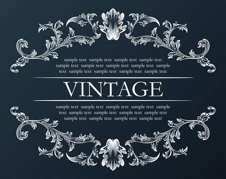 Vector vintage frame. Royal retro ornament decor black illustration