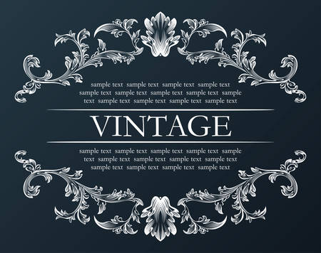 Vector vintage frame. Royal retro ornament decor black illustration