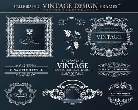 Vintage abstract black frames ornament set.