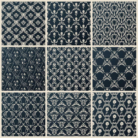 baroque wallpaper: Vector seamless vintage backgrounds. Abstract set black baroque wallpaper