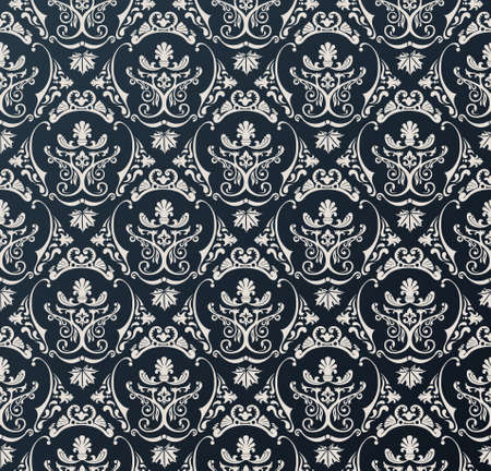 Seamless vector wallpaper background floral vintage black Reklamní fotografie - 40022321