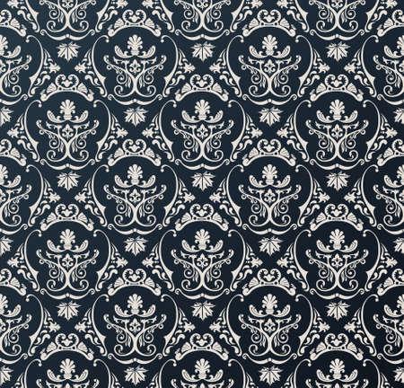Sin fisuras vector papel tapiz de fondo negro floral de la vendimia Foto de archivo - 40022321