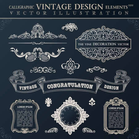 scroll frame: Calligraphic set black elements vintage Congratulation and page decoration. Vector frame ornament