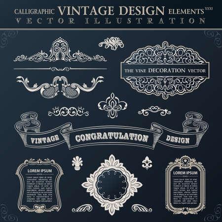 Calligraphic set black elements vintage Congratulation and page decoration. Vector frame ornament