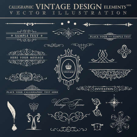 calligraphic design elements: Vector vintage set. Calligraphic elements and page decoration premium quality black collection design