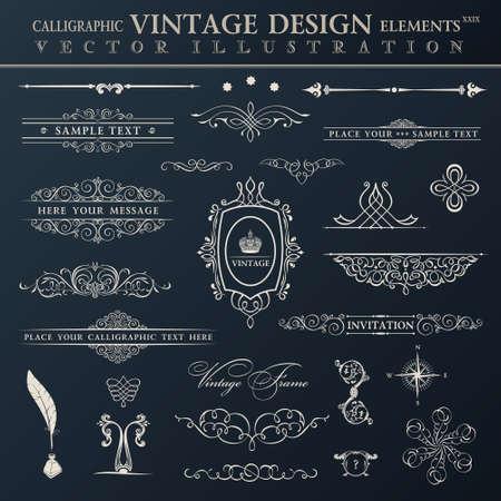 Vector vintage set. Calligraphic elements and page decoration premium quality black collection design