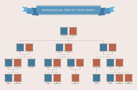 genealogical: �rbol geneal�gico de su familia con biseles aislados