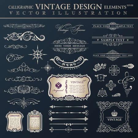 Vector set vintage sierlijke. Kalligrafische ontwerpelementen en pagina decoratie, collectie met zwart koningsblauw ornament Stock Illustratie
