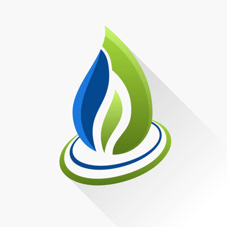 blue swirl: Vector symbol fire. Blue and green flame glass icon with long shadow isolated