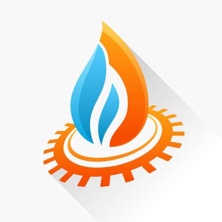 Vector-Symbol Feuer mit Ausrüstung. Orange und blaue Flamme Glas-Symbol mit langen Schatten isoliert