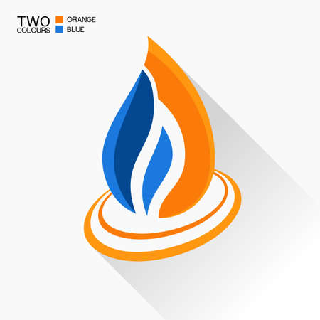 blue flame: Vector symbol fire. Dark blue and orange flame glass icon with long shadow isolated Illustration