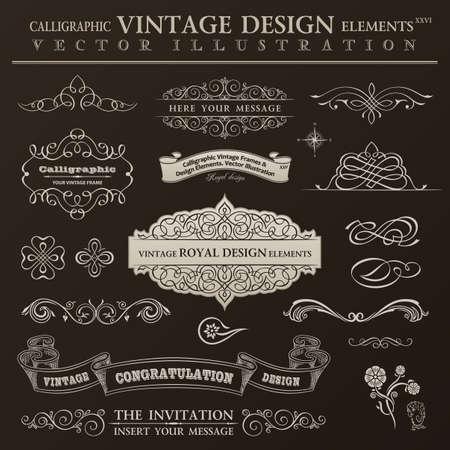 Calligraphic design elements vintage set. Vector ornament frames and scroll ribbon elements Illustration