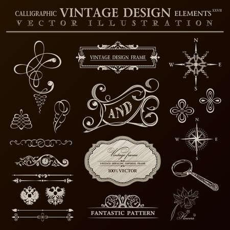Calligraphic design elements vintage set. ornament frame and royal scroll