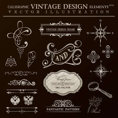 Calligraphic design elements vintage set. ornament frame and royal scroll