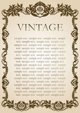 marrom: estilo do vintage papel quadro marrom Ilustração