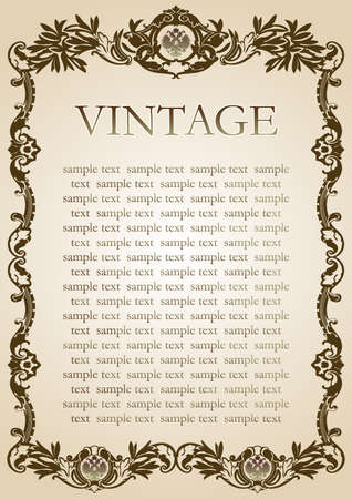 vintage style frame brown paper Ilustracja