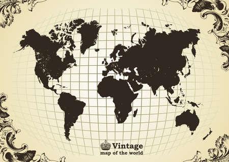 Vintage old map of the world frame. Vector illustration Illustration