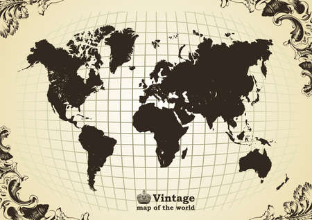 Vintage vieille carte de la trame du monde. Vector illustration