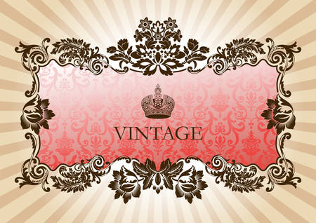 baroque frame: Vintage glamour frame red vector illustration
