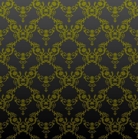 papier peint noir: seamless vintage background vert d�cor de fond d'�cran noir Illustration