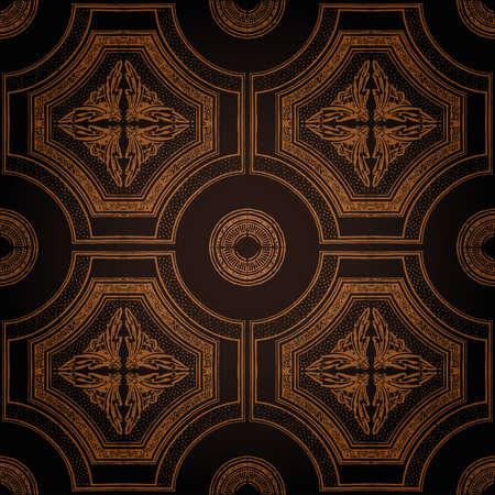 ベクトルの天井のタイルのシームレスなヴィンテージ装飾ブラック  イラスト・ベクター素材