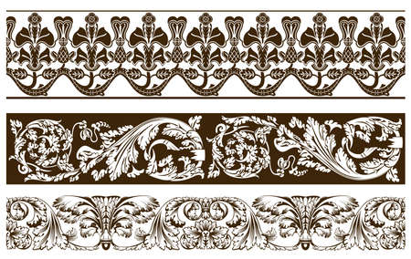 Three vintage curve banners vegetative ancient. Vector illustration