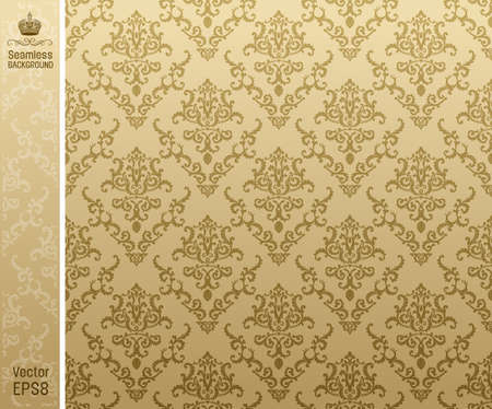 seamless damask: seamless backgroung vintage beige. vector illustration Illustration