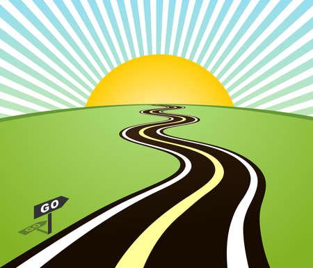 horizon: Road horizon to sun. Vector illustration Illustration