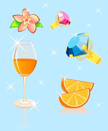 brilliant: orange flower brilliant. Vector illustration