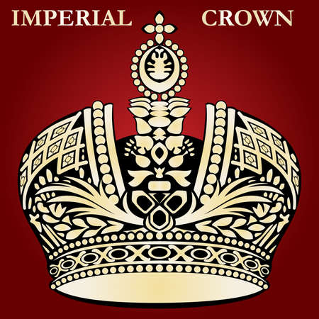 diamonds on black: imperial crown red royal vector Illustration