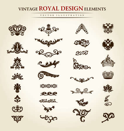 antique art: flower vintage royal design element. Vector illustration