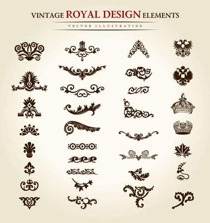 Königliches Gestaltungselement der Blumenweinlese. Vektor-illustration Standard-Bild - 40364095
