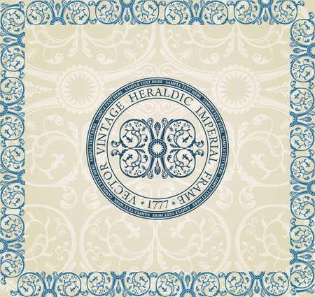 imperial: Vintage heraldic label imperial ornament  Illustration