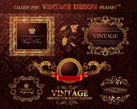 Vintage royal gold frames ornament set.