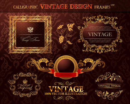 gold frame: Vintage royal gold frames ornament set.