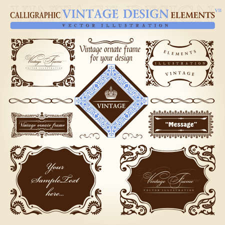 vintage document: vintage frame ornament set. Vector element decor text