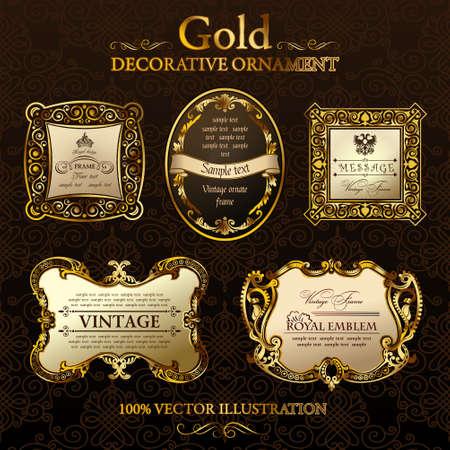 baroque frame: vintage decor frames. Gold ornament label. Vector illustration