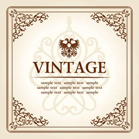 vintage curves floral frame ornament. vector illustration