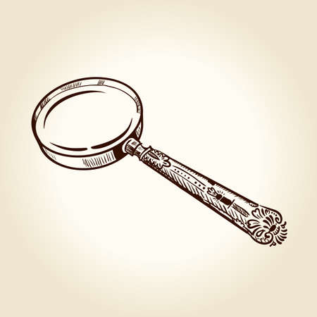 magnify glass: Vintage ancient drawn magnifier.