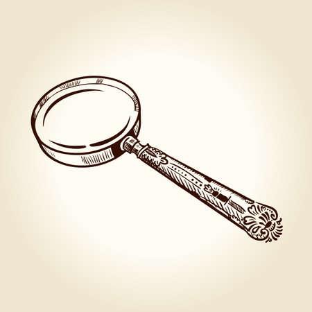 magnifier glass: Vintage lupa dibujado antigua. Vectores