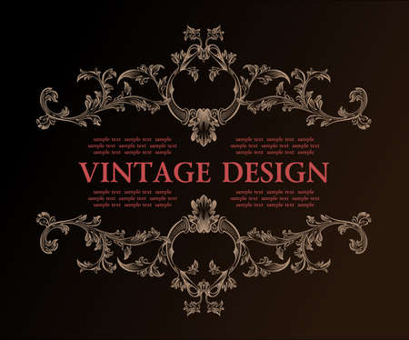 Vector vintage royal retro frame ornament decor illustratie