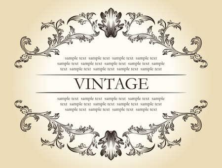Vector vintage royal retro frame ornament decor text illustration