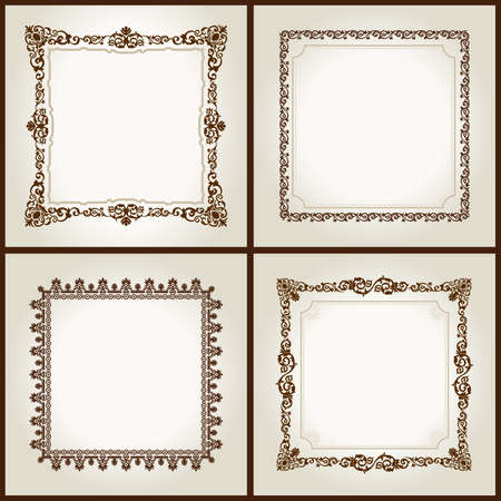 Vector vintage retro frames ornament label isolated