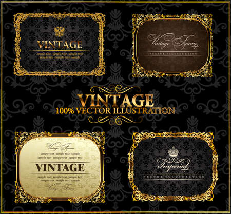 baroque background: Vector vintage Gold frames decor set label Illustration