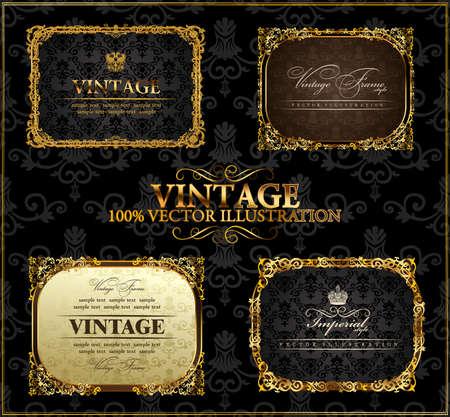 Wektor archiwalne Złoty ramek zestaw wystrój etykietę